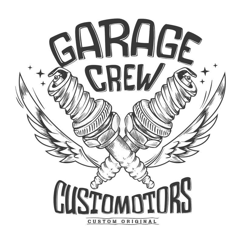 Diseño de la impresión de la bujía del garaje del club de la motocicleta del vintage stock de ilustración