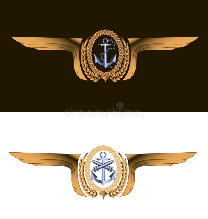 Diseño de la impresión de la camiseta, insignia de aviación naval del imperio de la fantasía stock de ilustración