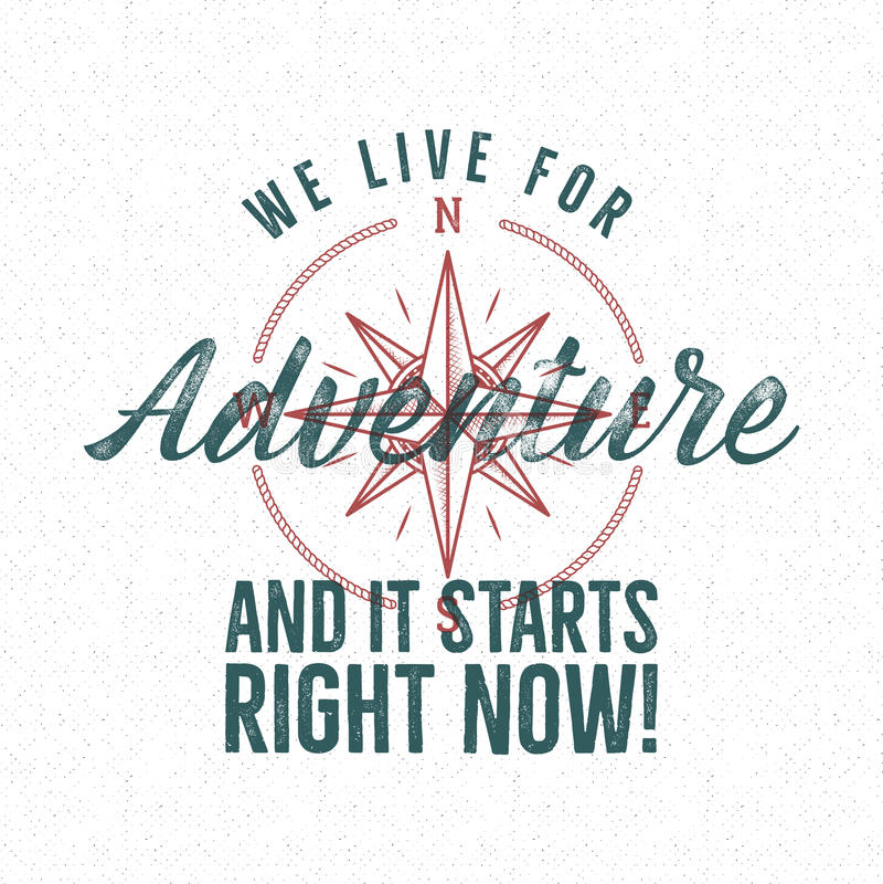 Diseño de la impresión de la etiqueta del vintage de la aventura Viva para la muestra de la aventura Estilo de la tipografía con  libre illustration
