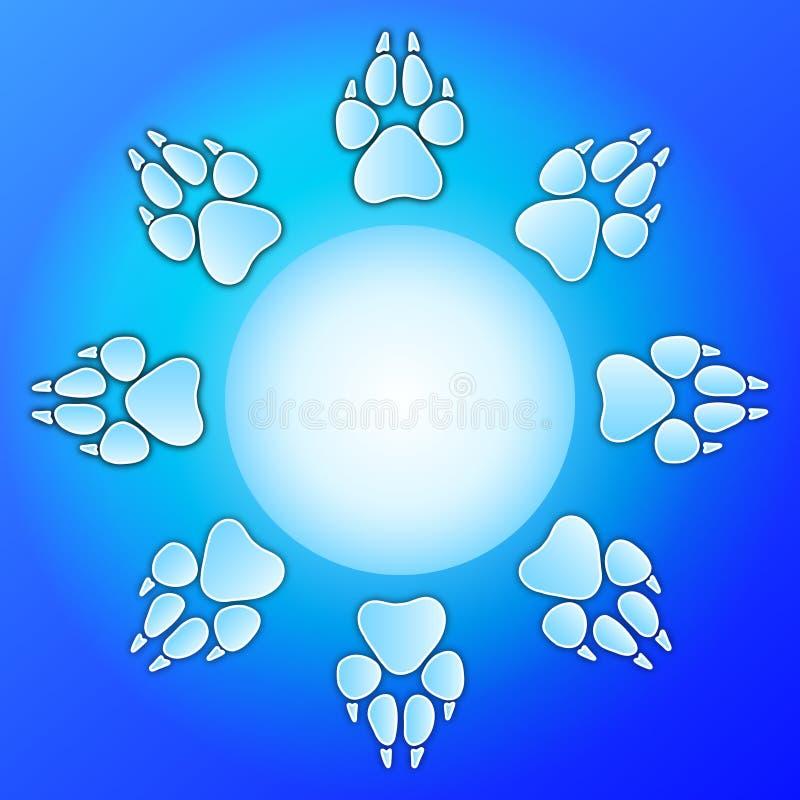 Diseño de la impresión de la pata del perro stock de ilustración