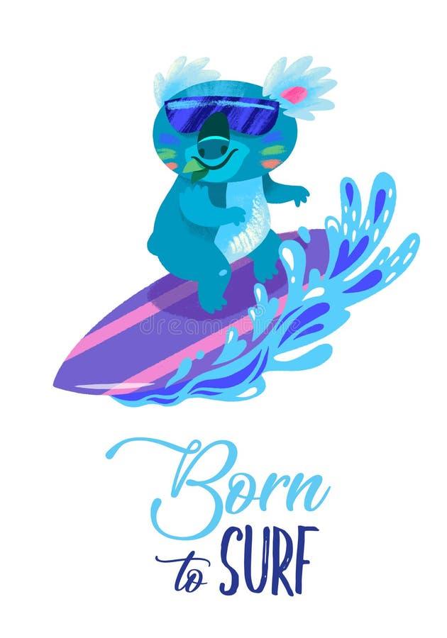 Diseño de la impresión que practica surf con la persona que practica surf exhausta de la koala de la mano libre illustration