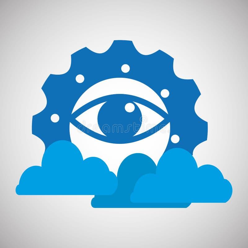 diseño de la información de la nube del engranaje del ojo ilustración del vector