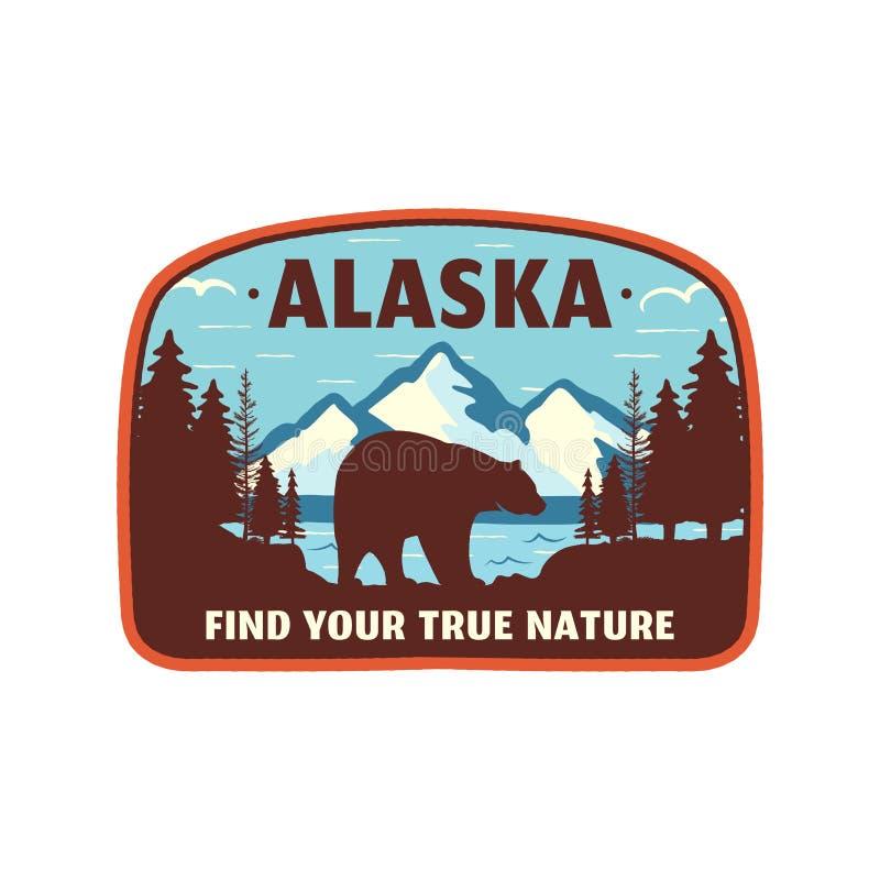 Diseño de la insignia de Alaska Remiendo de la aventura de la montaña Logotipo americano del viaje Estilo retro lindo Encuentre s ilustración del vector