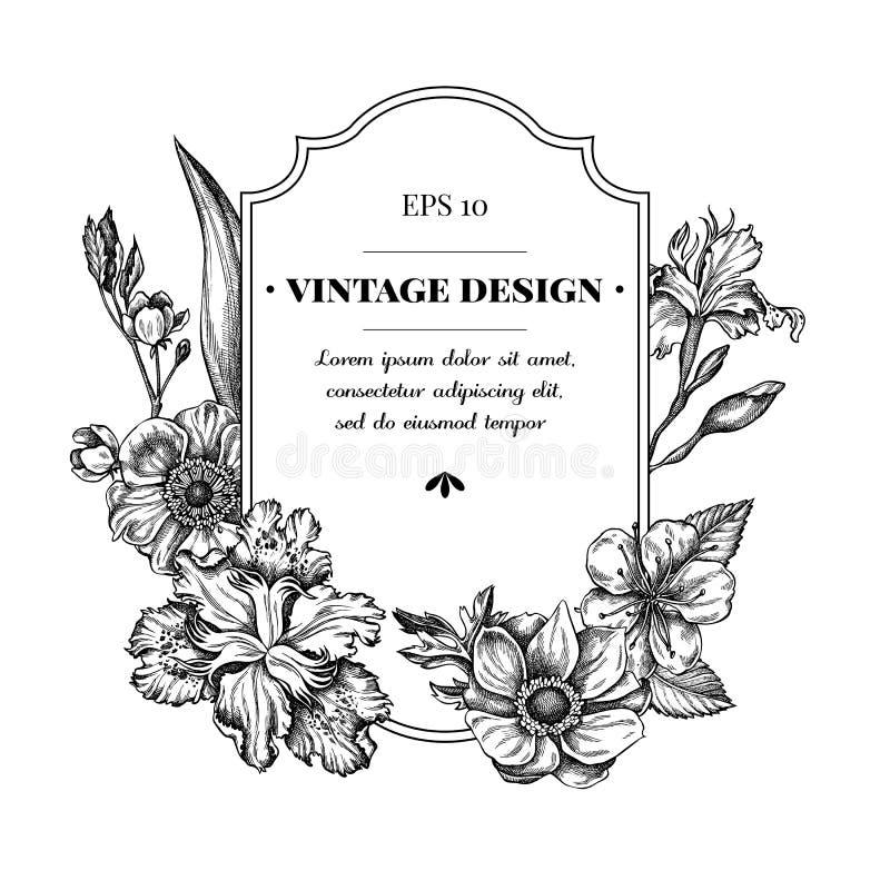 Diseño de la insignia con la anémona blanco y negro, japonica del iris, Sakura imagen de archivo