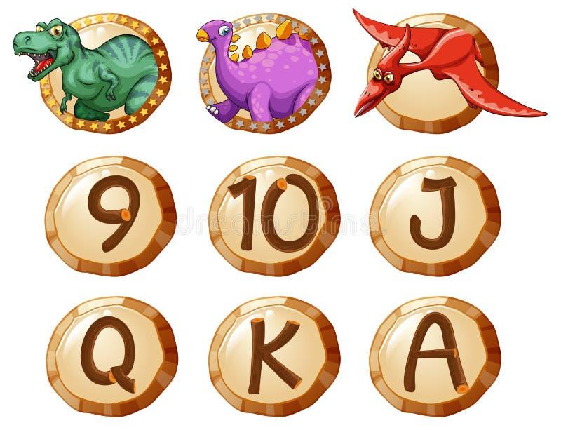 Diseño de la insignia con los dinosaurios y las letras stock de ilustración