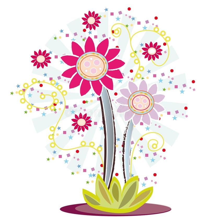 Diseño de la insignia de la flor stock de ilustración