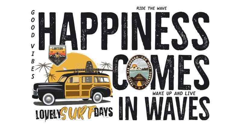 Diseño de la insignia que practica surf Logotipo al aire libre de la aventura con cita del viaje que acampa - la felicidad viene  stock de ilustración
