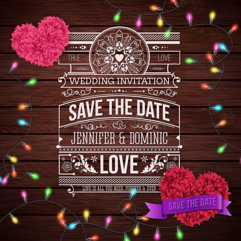 Diseño de la invitación de la boda en fondo de madera ilustración del vector