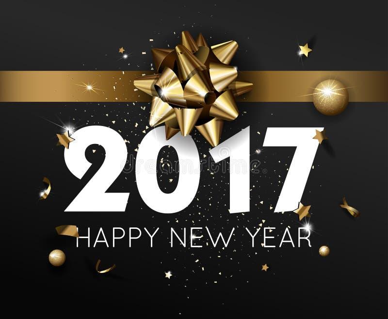 Diseño de la invitación del aviador de la plantilla de la tarjeta 2017 o del cartel de felicitación de la Feliz Año Nuevo ilustración del vector