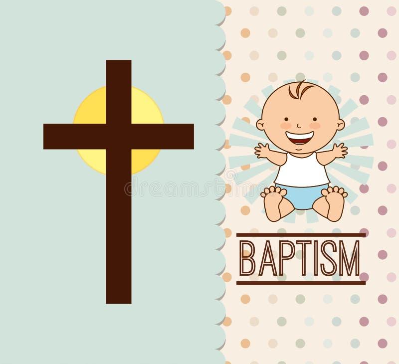 Diseño de la invitación del bautismo stock de ilustración