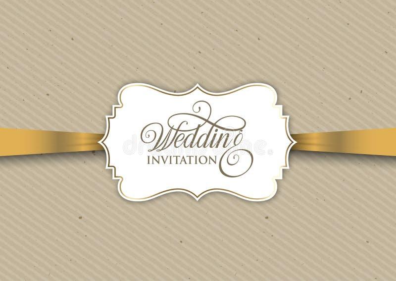 Diseño de la invitación del vintage con la cinta del oro stock de ilustración