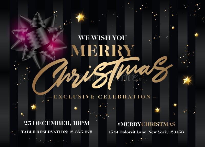 Diseño de la invitación de la Feliz Navidad Tarjeta de felicitación negra elegante stock de ilustración
