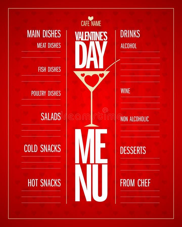 Diseño de la lista del menú del día de tarjetas del día de San Valentín con los platos y las bebidas libre illustration