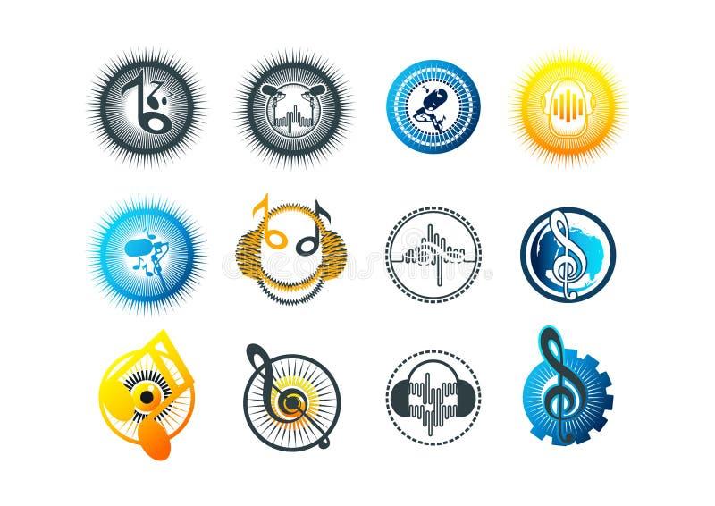 diseño de la música, del logotipo, del Karaoke, del símbolo, del golpe, del icono y de concepto del sonido stock de ilustración