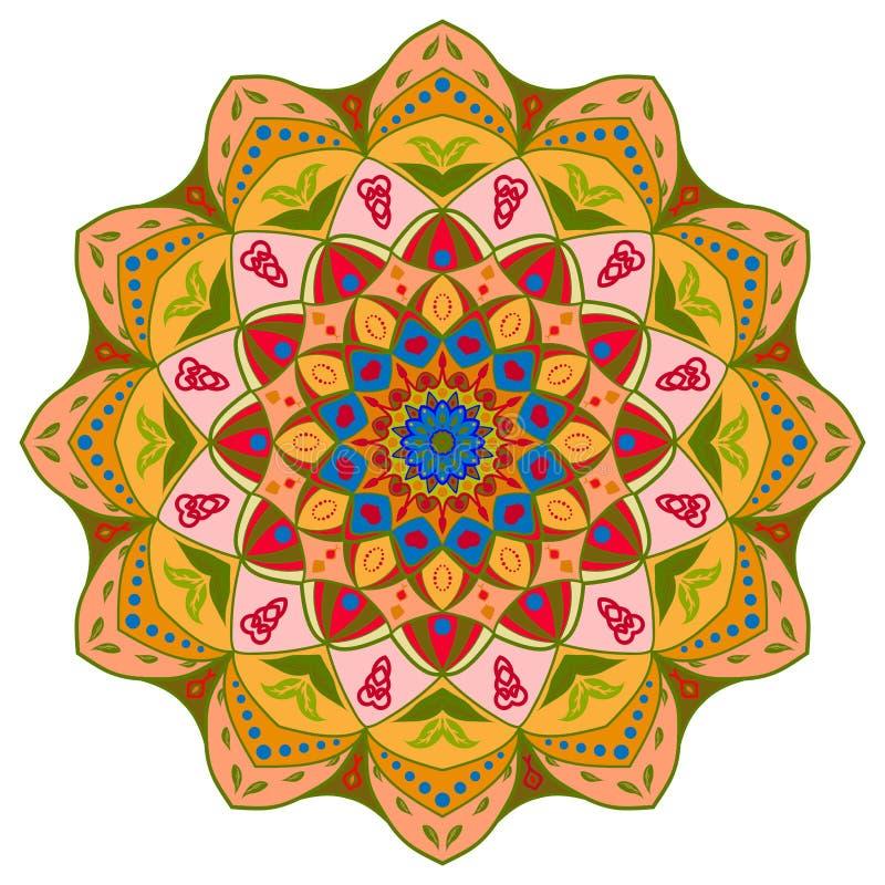 Diseño de la mandala, elementos decorativos del vintage, fondo ornamental del garabato stock de ilustración
