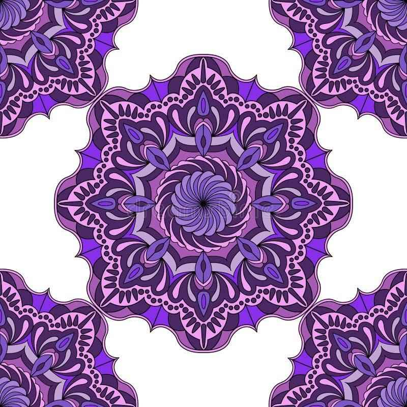 Diseño de la mandala, modelo geométrico de la mandala Colores del vintage stock de ilustración