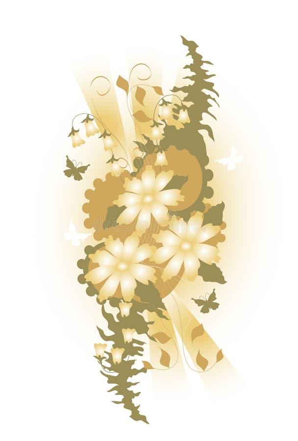 Diseño de la mariposa y de la flor stock de ilustración