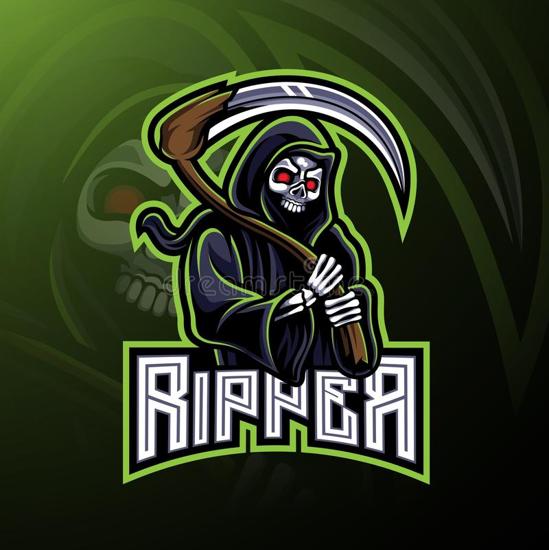 Diseño de la mascota del logotipo del destripador del cráneo stock de ilustración