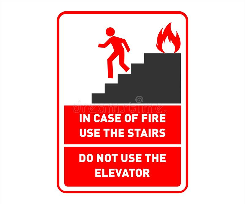 Diseño de la muestra de seguridad de la salida de socorro - escaleras del uso en caso de que - cartel imprimible de la pared de l ilustración del vector