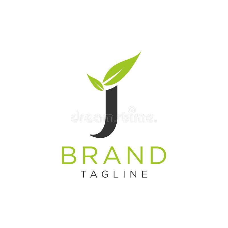 Diseño de la naturaleza del logotipo de la letra J con vector de la hoja libre illustration