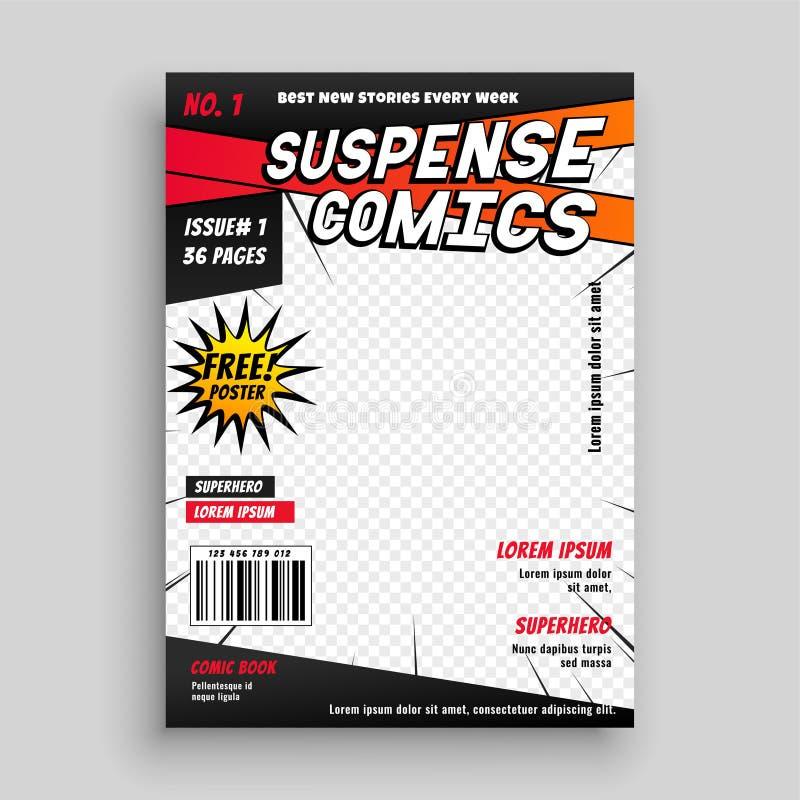 Diseño de la página de cubierta de la publicación del cómic stock de ilustración