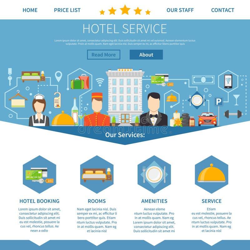 Diseño de la página del servicio de hotel stock de ilustración