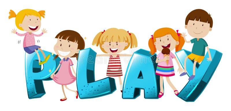 Diseño de la palabra con los niños y el juego de palabra stock de ilustración