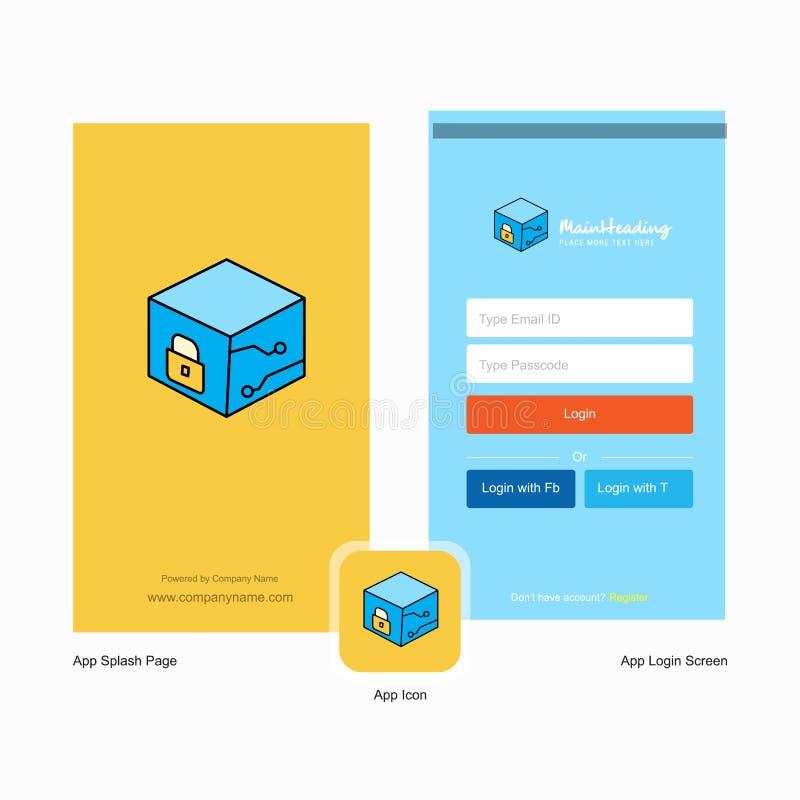 Diseño de la pantalla y de la página de inicio de sesión del chapoteo del cubo de la compañía con la plantilla del logotipo r ilustración del vector