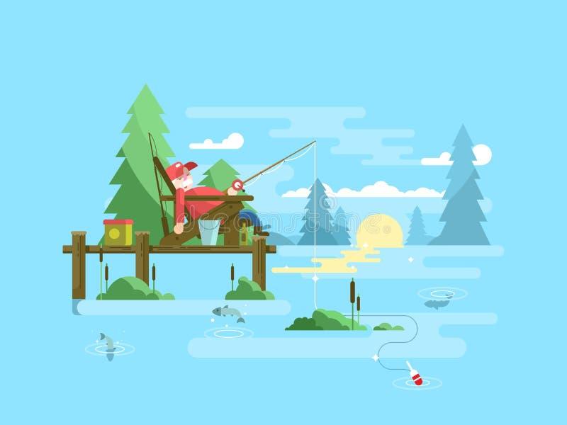 Diseño de la pesca del resto ilustración del vector