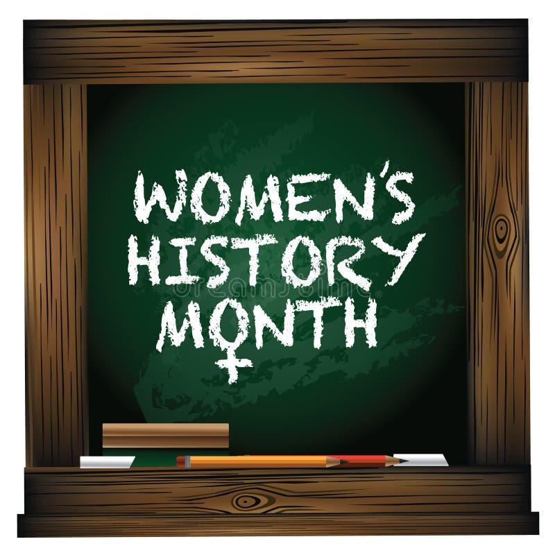 Diseño de la pizarra del mes de la historia de las mujeres stock de ilustración