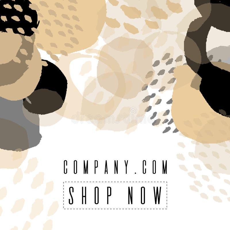 Diseño de la plantilla de la bandera de la venta Para la tienda en línea, sitio Ilustración del vector Cepillo del color, flexibi stock de ilustración