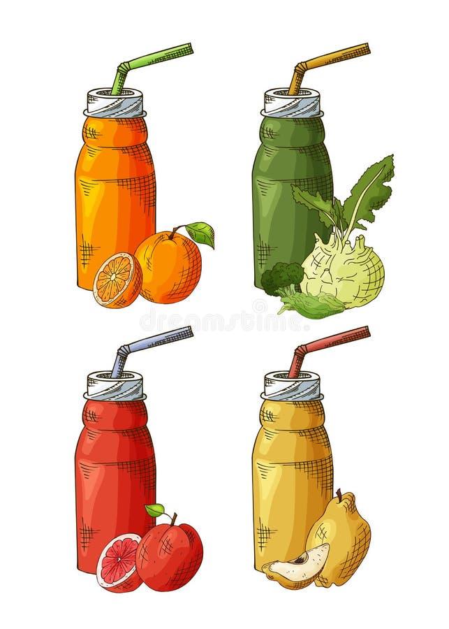 Diseño de la plantilla con el smoothie para la bandera, folleto Sacudida de fruta orgánica con los ingredientes Ilustración del v libre illustration