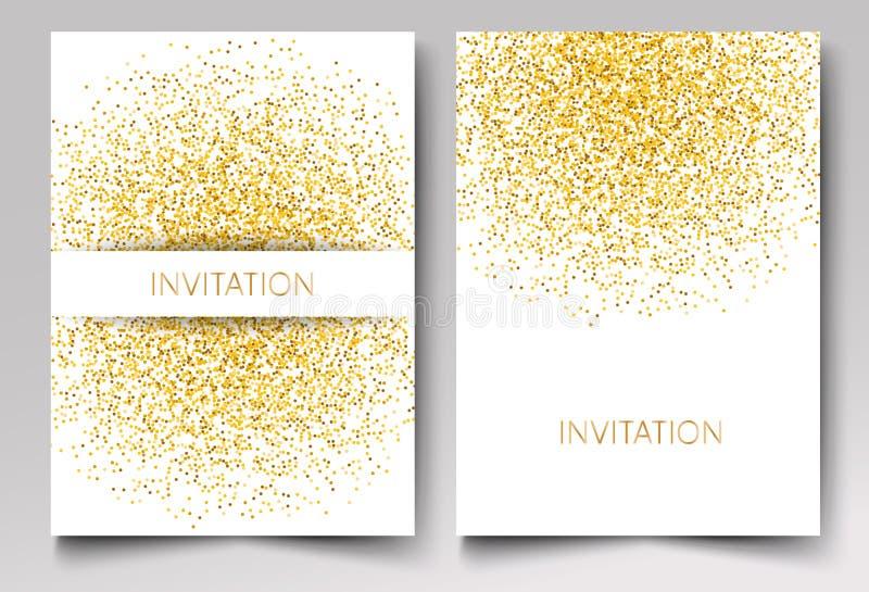 Diseño de la plantilla de confeti del brillo del oro de la invitación en el vector blanco eps10 del fondo stock de ilustración