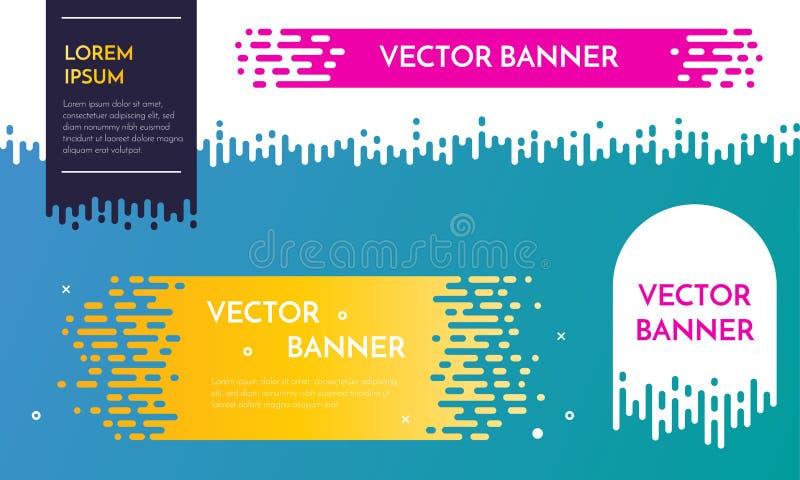 Diseño de la plantilla de la bandera del vector con el goteo de efecto irregular del flujo stock de ilustración