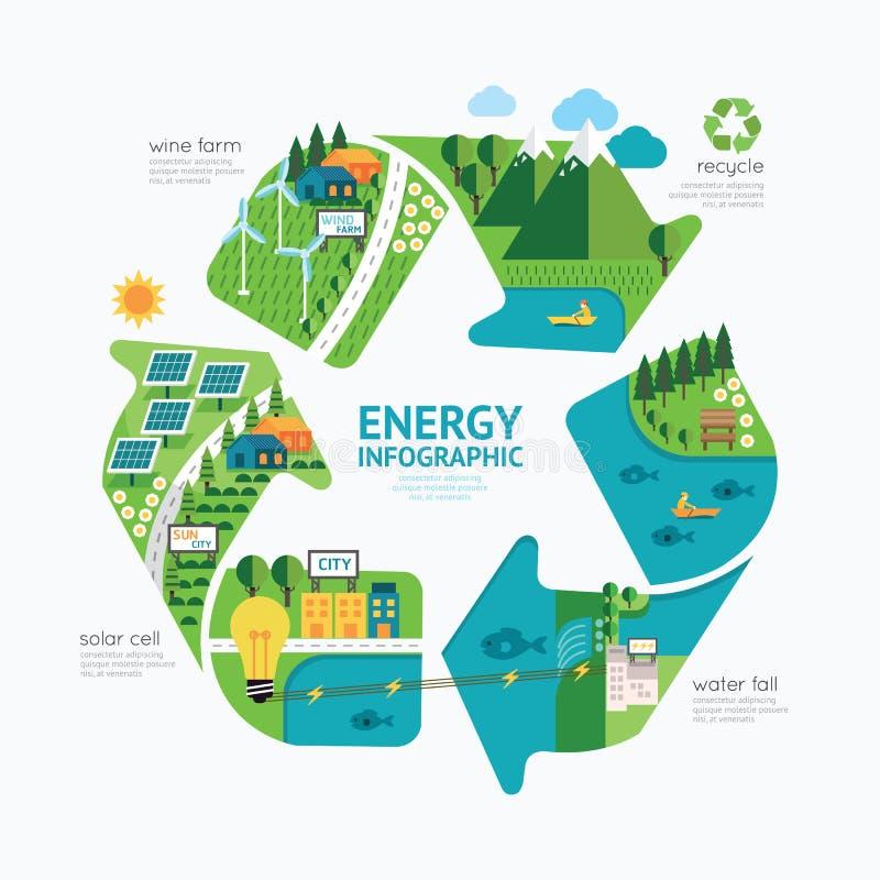 Diseño de la plantilla de la energía de Infographic proteja el concepto de la energía mundial ilustración del vector