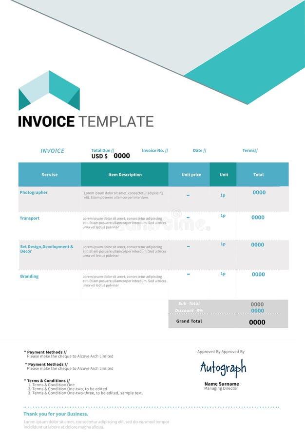 Diseño de la plantilla de la factura stock de ilustración