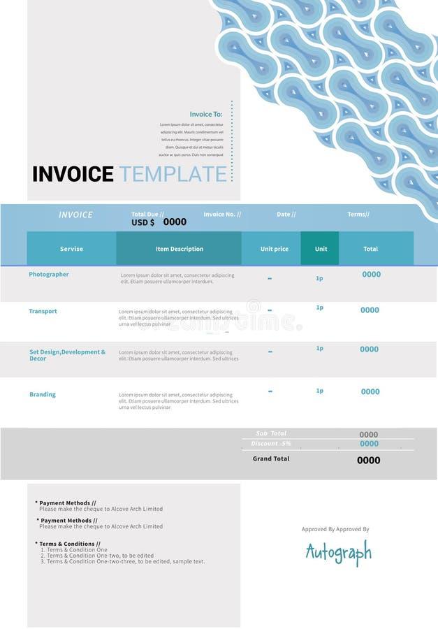 Diseño de la plantilla de la factura libre illustration