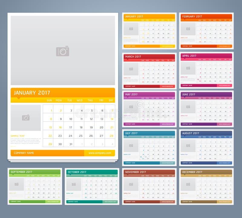 Diseño de la plantilla de la impresión del calendario 2017 Vector ilustración del vector