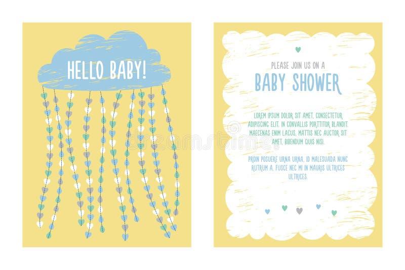 Diseño de la plantilla de la invitación de la fiesta de bienvenida al bebé stock de ilustración