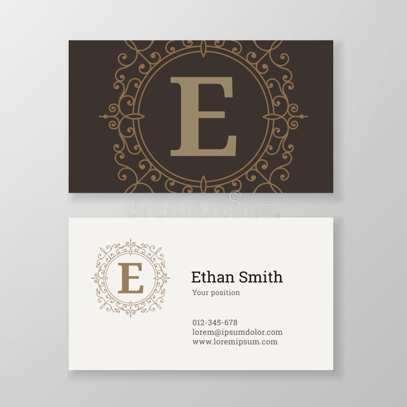 Diseño de la plantilla de la letra E del emblema del monograma de la tarjeta de visita libre illustration