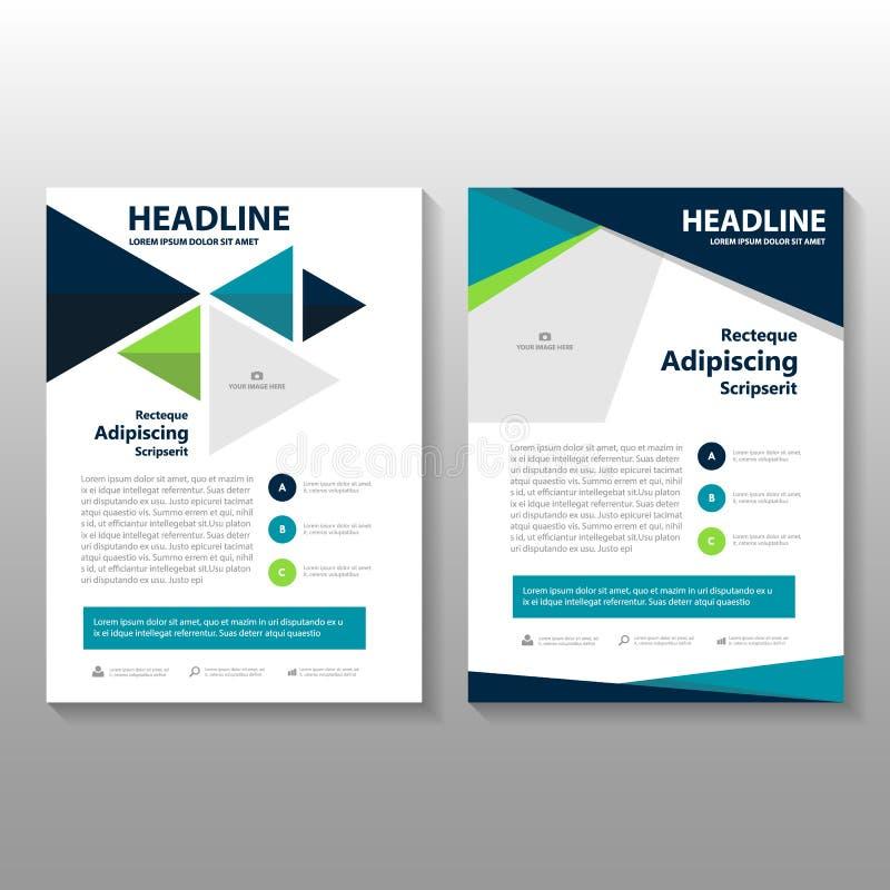 Diseño de la plantilla del aviador del folleto del prospecto del informe anual del verde azul del triángulo, diseño de la disposi stock de ilustración