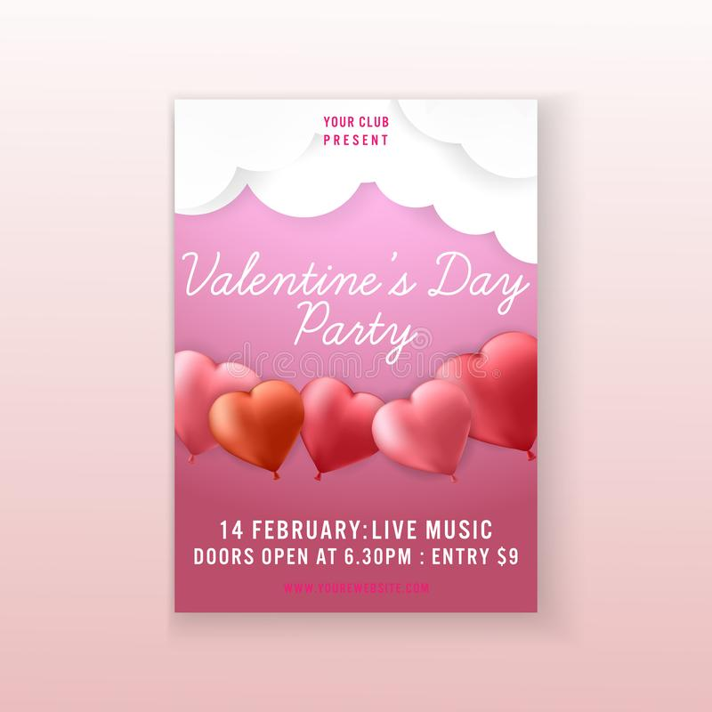 Diseño de la plantilla del aviador de la invitación del fondo del corazón del partido del día de tarjeta del día de San Valentín  libre illustration