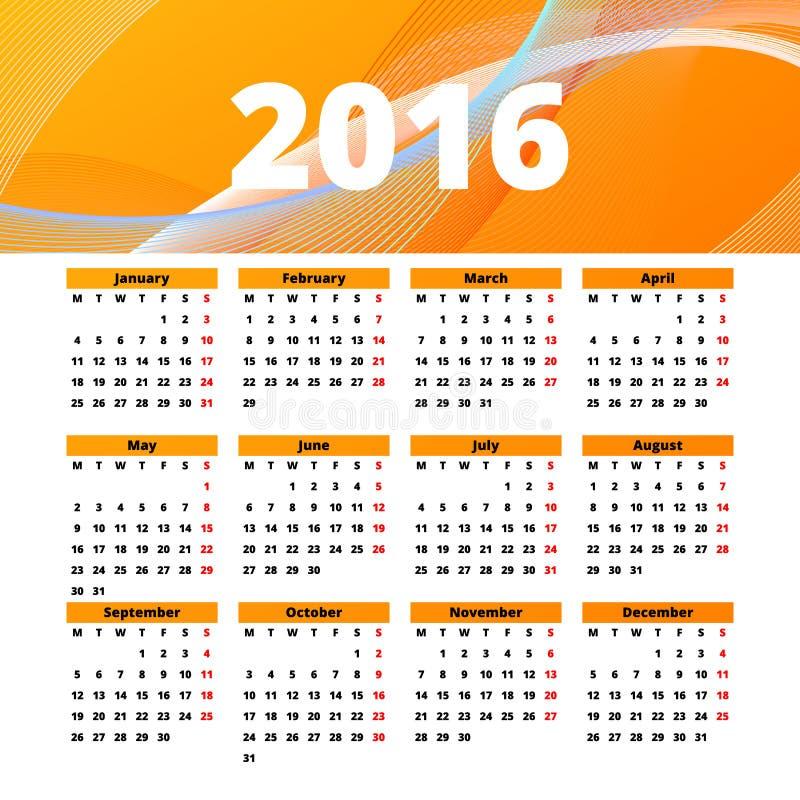 Diseño 2016 de la plantilla del calendario con la imagen del jefe stock de ilustración