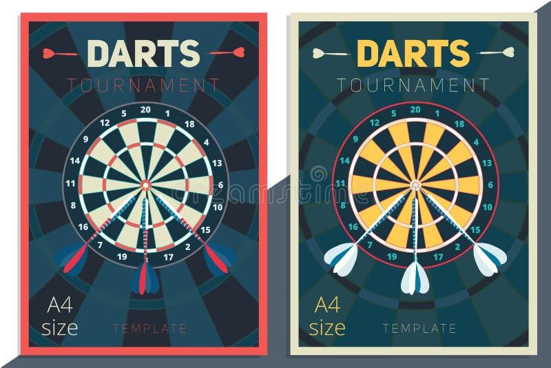 Diseño de la plantilla del cartel del vector del torneo de los dardos estilo retro plano ilustración del vector