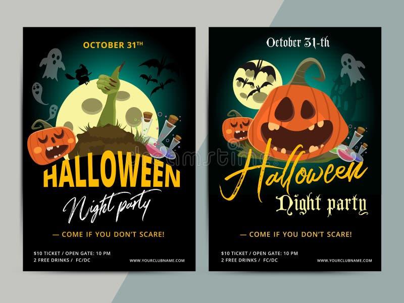 Diseño de la plantilla del cartel del partido del feliz Halloween Todos santifican la mosca de la víspera stock de ilustración