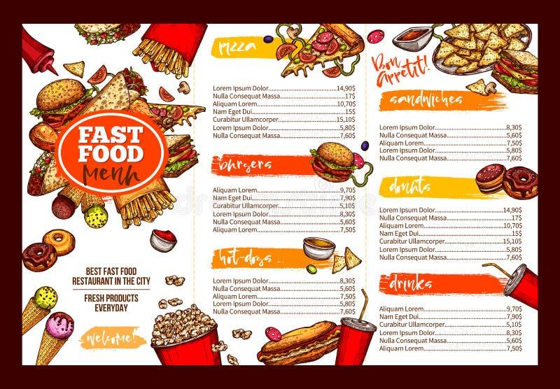 Diseño de la plantilla del folleto del menú del restaurante de los alimentos de preparación rápida libre illustration