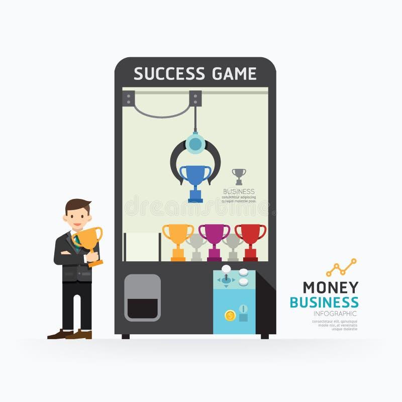 Diseño de la plantilla del juego de la garra del negocio de Infographic Cómo al éxito c ilustración del vector