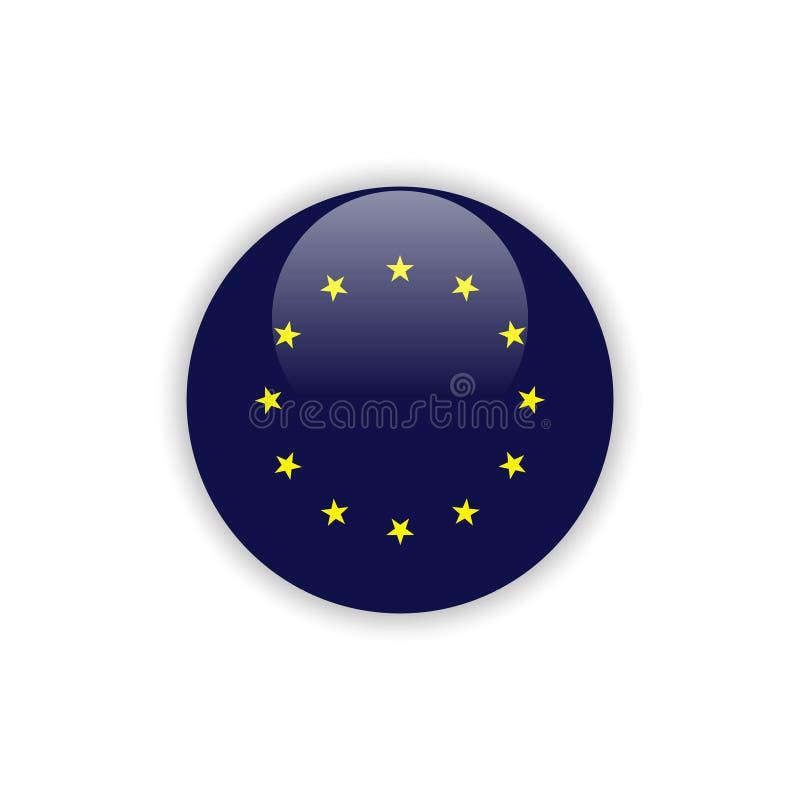 Diseño de la plantilla del vector de la bandera de Europa del botón stock de ilustración