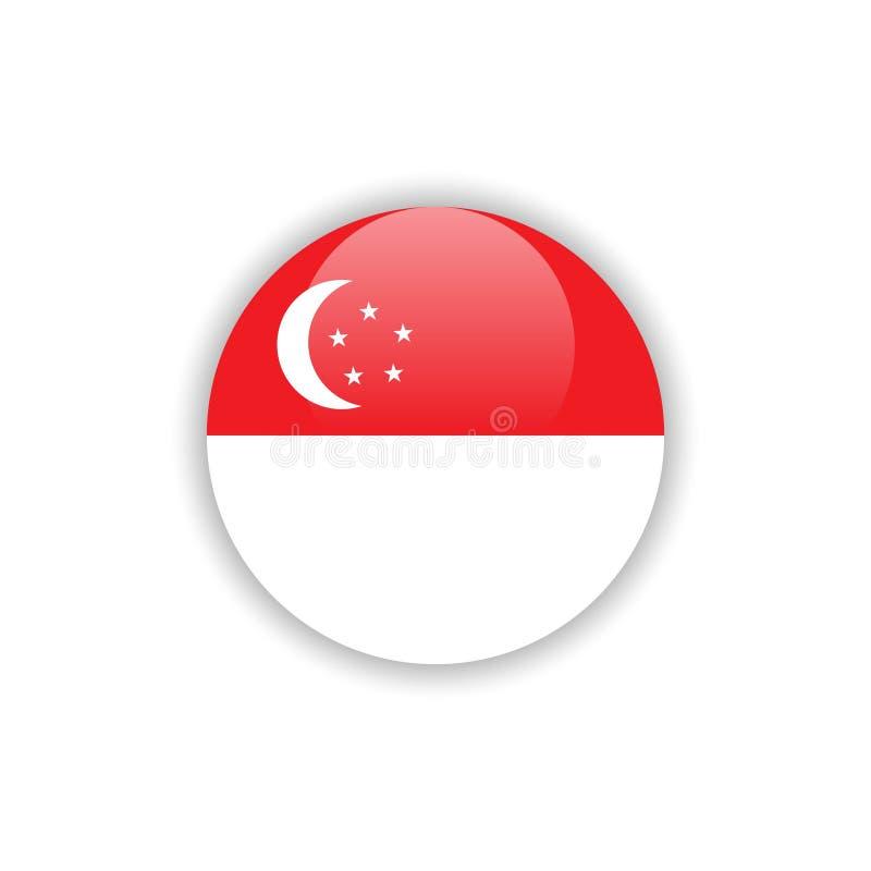 Diseño de la plantilla del vector de la bandera de Singapur del botón libre illustration