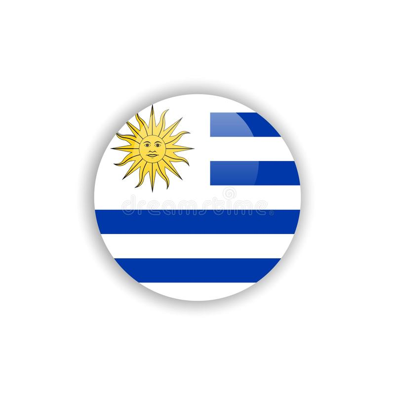 Diseño de la plantilla del vector de la bandera de Uruguay del botón libre illustration